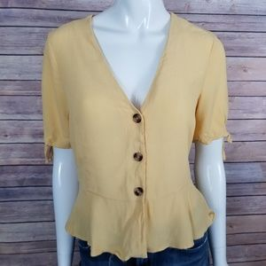 Topshop Button-Down Flared Top